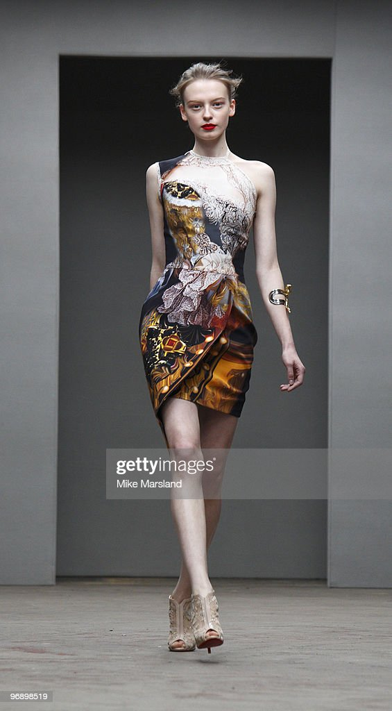 Model walks the runway at the Mark Fast/Mary Katrantzou show for London Fashion Week Autumn/Winter 2010 at TopShop Venue on February 20 2010 in...