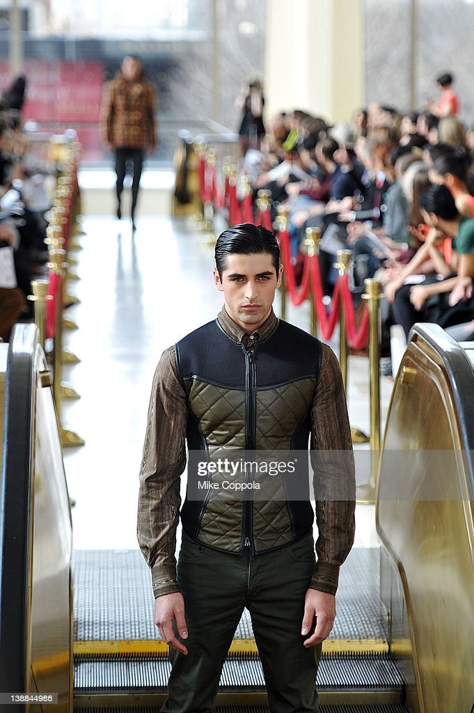 A model walks the runway at the Marlon Gobel fall 2012 fashion show during MercedesBenz Fashion Week at Avery Fisher Hall Lincoln Center on February...