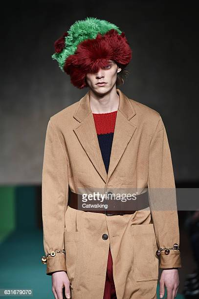 A model walks the runway at the Marni Autumn Winter 2017 fashion show during Milan Menswear Fashion Week on January 14 2017 in Milan Italy