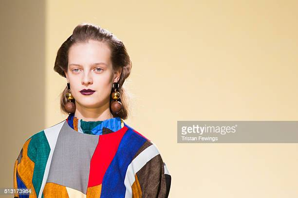 A model walks the runway at the Marni fashion show during Milan Fashion Week Fall/Winter 2016/17 on February 28 2016 in Milan Italy