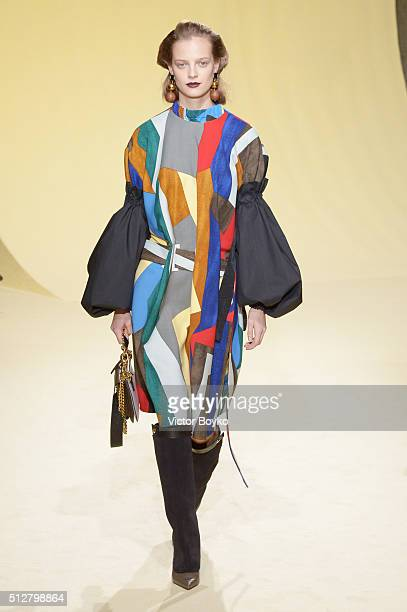 A model walks the runway at the Marni show during Milan Fashion Week Fall/Winter 2016/17 on February 28 2016 in Milan Italy