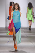 A model walks the runway at the Marques'Almeida show during London Fashion Week Spring Summer 2015 at TopShop Show Space on September 16 2014 in...