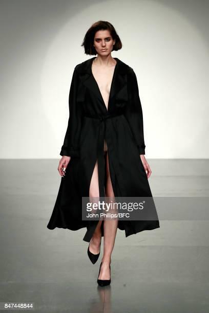 A model walks the runway at the Marta Jakubowski show during London Fashion Week September 2017 on September 15 2017 in London England