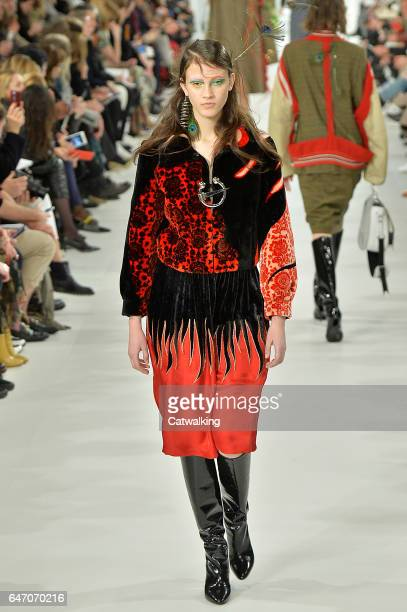 A model walks the runway at the Martin Margiela Autumn Winter 2017 fashion show during Paris Fashion Week on March 1 2017 in Paris France