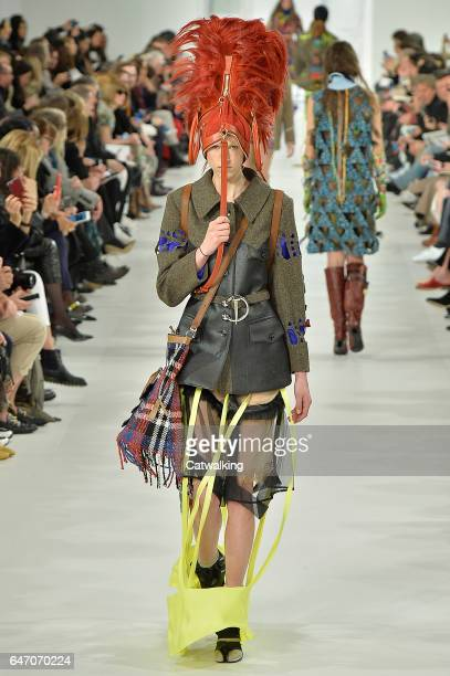 A model walks the runway at the Martin Margiela Autumn Winter 2017 fashion show during Paris Fashion Week on March 1 2017 in Paris France