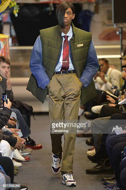 A model walks the runway at the Martine Rose Autumn Winter 2017 fashion show during London Menswear Fashion Week on January 8 2017 in London United...