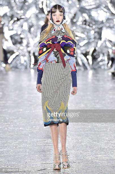 A model walks the runway at the Mary Katrantzou Autumn Winter 2016 fashion show during London Fashion Week on February 21 2016 in London United...