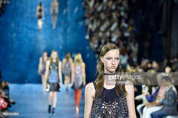 A model walks the runway at the Mary Katrantzou Ready to Wear show during London Fashion Week Spring/Summer 2016 on September 20 2015 in London...