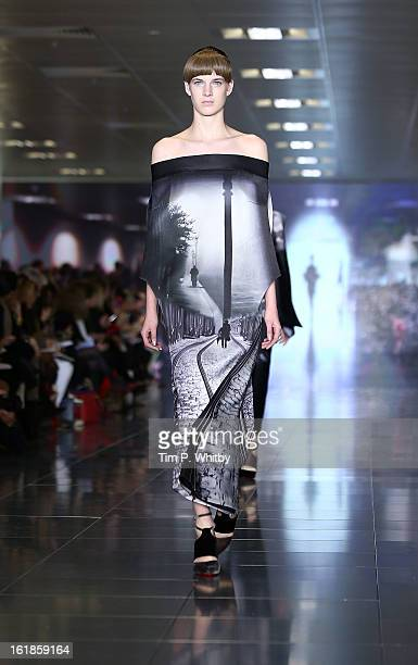A model walks the runway at the Mary Katrantzou show during London Fashion Week Fall/Winter 2013/14 at Howich Place on February 17 2013 in London...