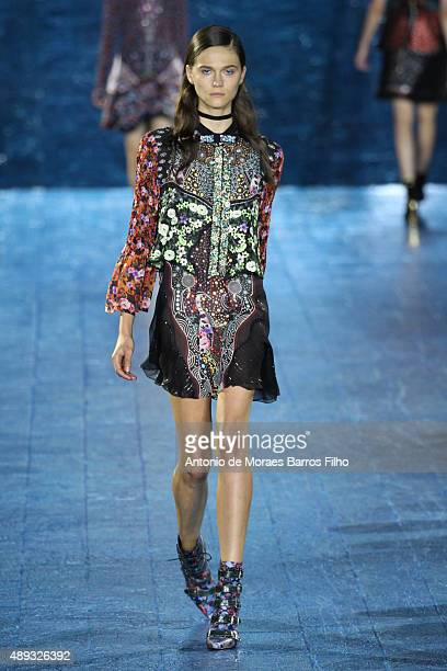 A model walks the runway at the Mary Katrantzou show during London Fashion Week Spring/Summer 2016/17 on September 20 2015 in London England