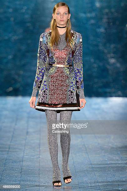 A model walks the runway at the Mary Katrantzou Spring Summer 2016 fashion show during London Fashion Week on September 20 2015 in London United...