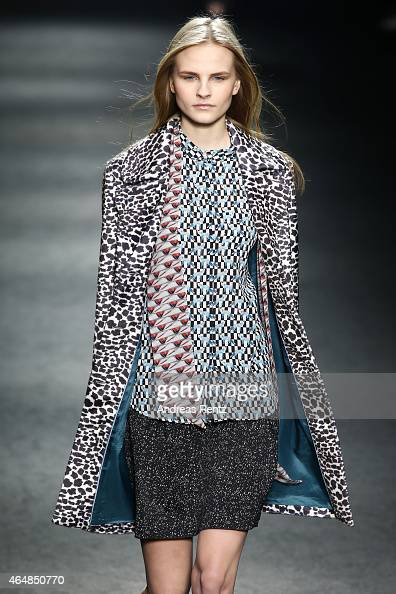 A model walks the runway at the Massimo Rebecchi show during the Milan Fashion Week Autumn/Winter 2015 on March 1 2015 in Milan Italy