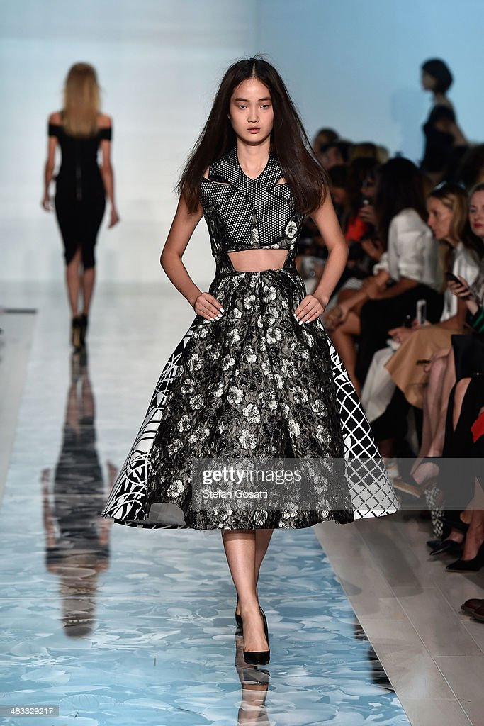 A model walks the runway at the Maticevski show during Mercedes-Benz Fashion Week Australia 2014 at Carriageworks on April 8, 2014 in Sydney, Australia.