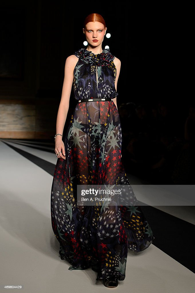 A model walks the runway at the Matthew Williamson show at London Fashion Week AW14 at on February 16 2014 in London England