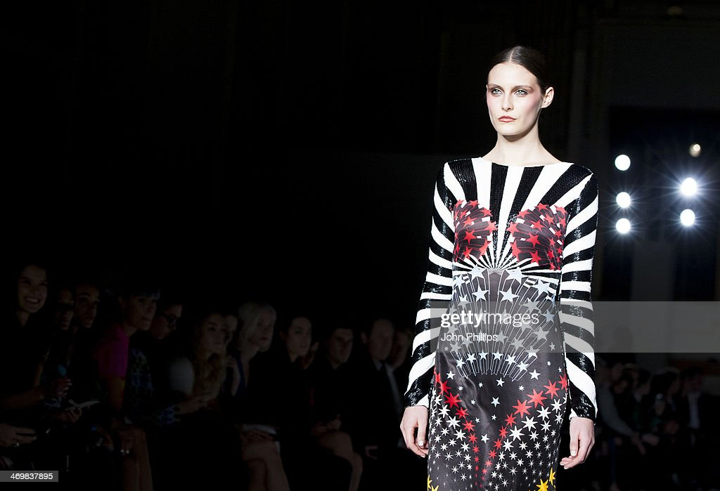 A model walks the runway at the Matthew Williamson show at London Fashion Week AW14 at on February 16, 2014 in London, England.