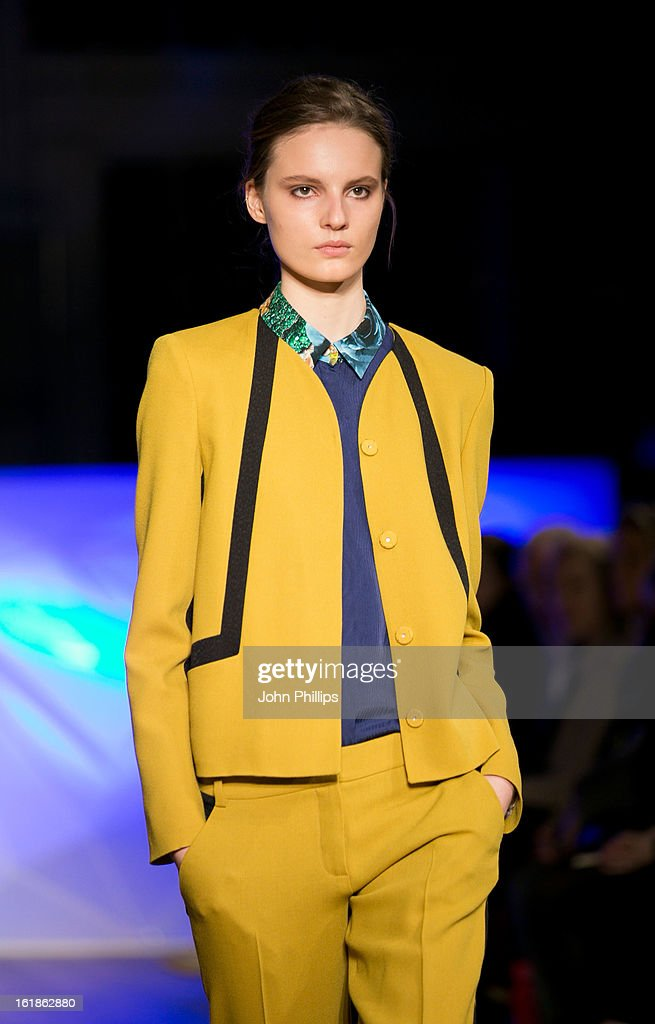 A model walks the runway at the Matthew Williamson show during London Fashion Week Fall/Winter 2013/14 on February 17, 2013 in London, England.