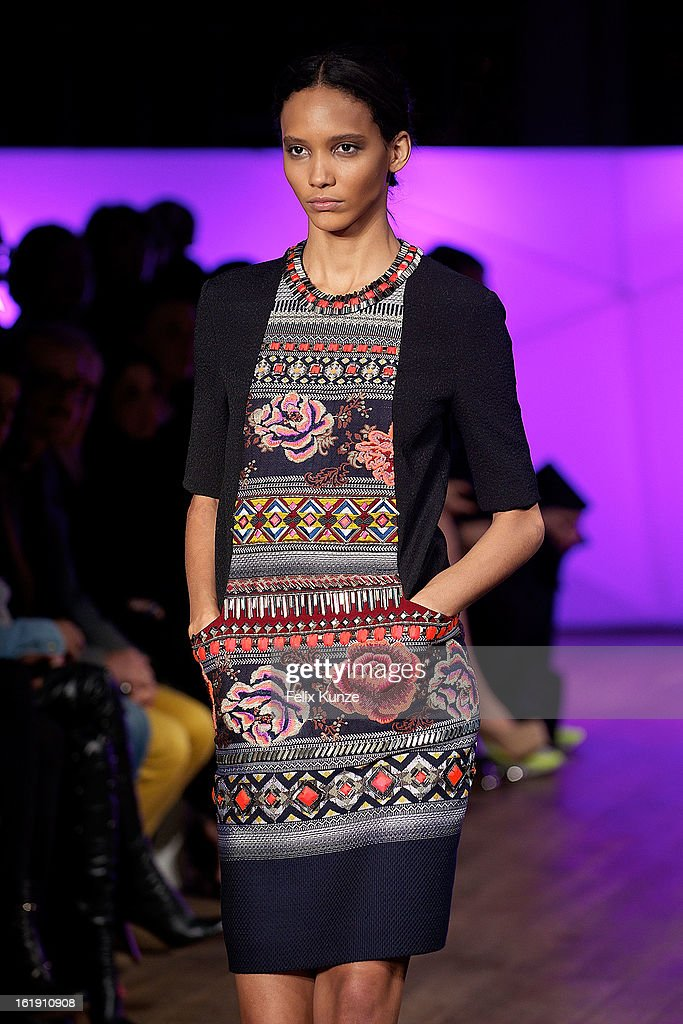 A model walks the runway at the Matthew Williamson show during London Fashion Week Fall/Winter 2013/14 at The Royal Opera House on February 17, 2013 in London, England.