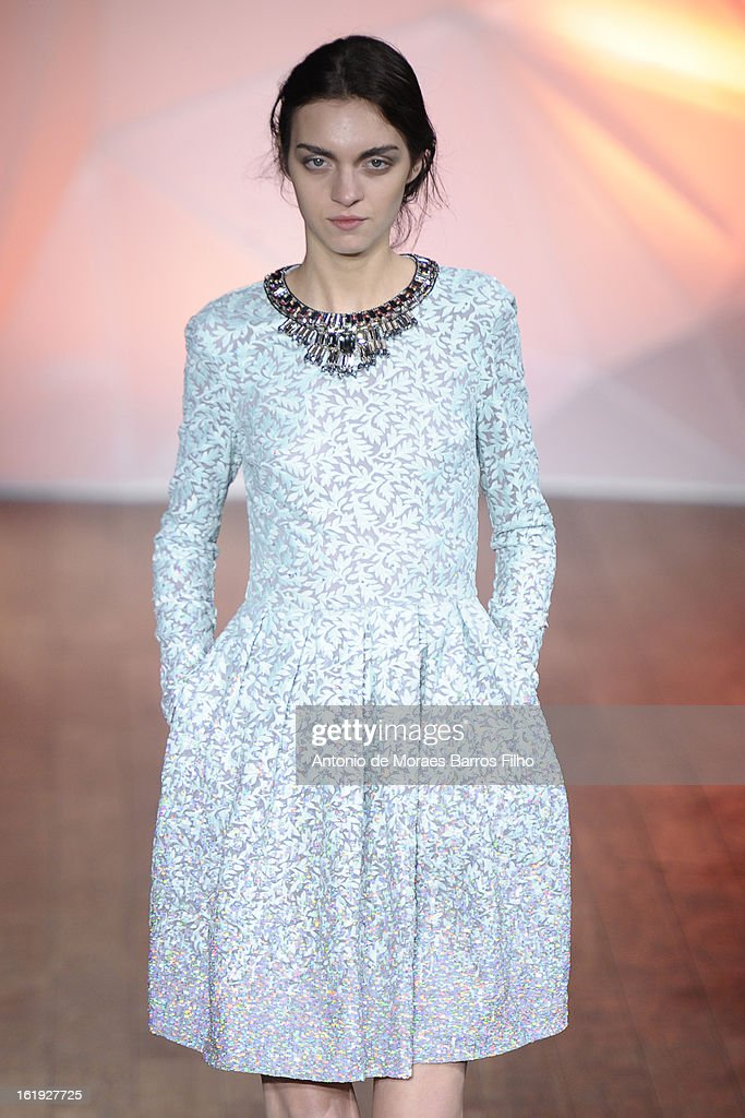A model walks the runway at the Matthew Williamson show during London Fashion Week Fall/Winter 2013/14 at on February 17, 2013 in London, England.