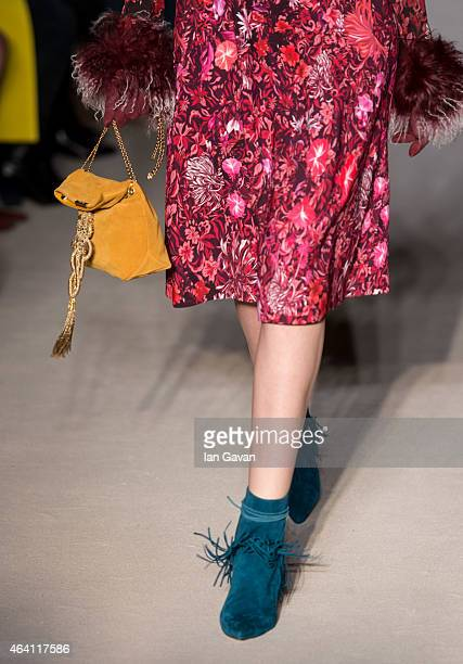A model walks the runway at the Matthew Williamson show during London Fashion Week Fall/Winter 2015/16 at The Criterion on February 22 2015 in London...