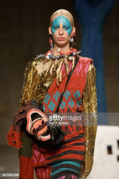 A model walks the runway at the Matty Bovan show during the London Fashion Week February 2017 collections on February 18 2017 in London England