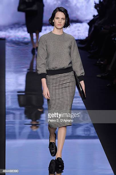 A model walks the runway at the Max Mara show during the Milan Fashion Week Autumn/Winter 2015 on February 26 2015 in Milan Italy
