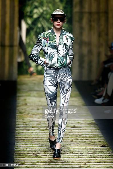 A model walks the runway at the Max Mara show Milan Fashion Week Spring/Summer 2017 on September 22 2016 in Milan Italy