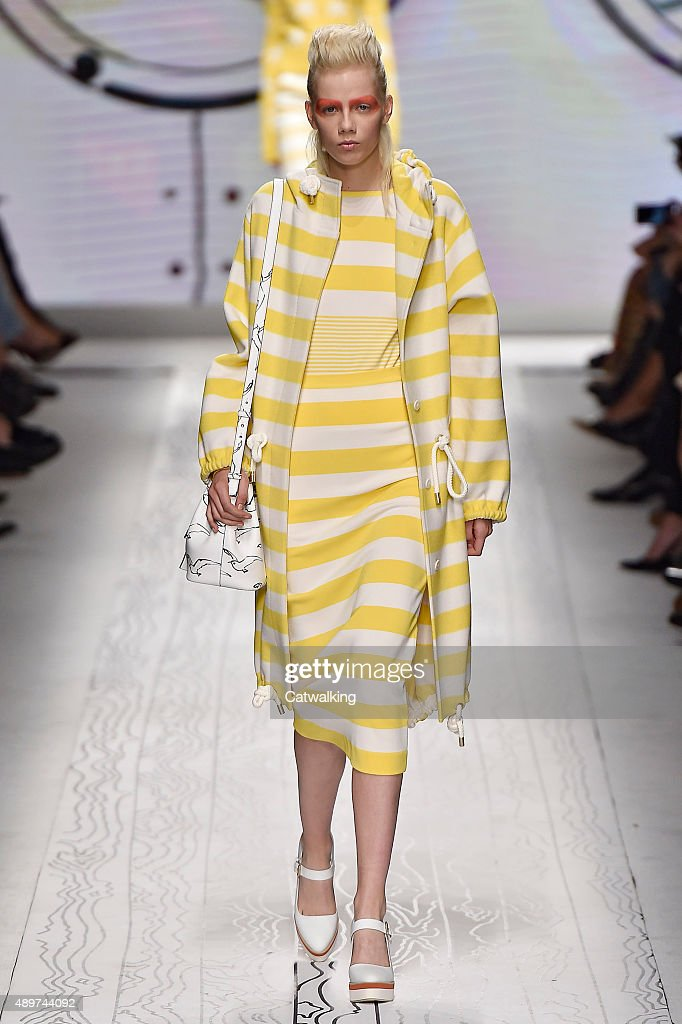 A model walks the runway at the Max Mara Spring Summer 2016 fashion show during Milan Fashion Week on September 24 2015 in Milan Italy