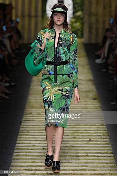 A model walks the runway at the Max Mara Spring Summer 2017 fashion show during Milan Fashion Week on September 22 2016 in Milan Italy