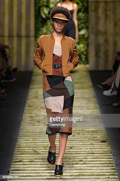 A model walks the runway at the Max Mara Spring Summer 2017 fashion show during Milan Fashion Week on September 22 2016 in Milan Italy