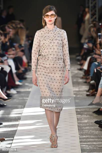 A model walks the runway at the Max Mara Spring Summer 2018 fashion show during Milan Fashion Week on September 21 2017 in Milan Italy