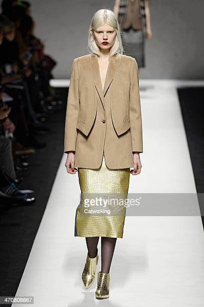 A model walks the runway at the MaxMara Autumn Winter 2014 fashion show during Milan Fashion Week on February 20 2014 in Milan Italy