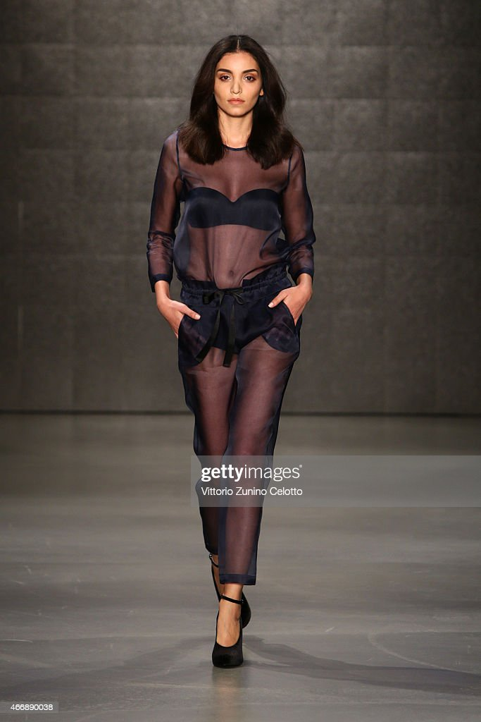 A model walks the runway at the Mehtap Elaidi show during Mercedes Benz Fashion Week Istanbul FW15 on March 19 2015 in Istanbul Turkey