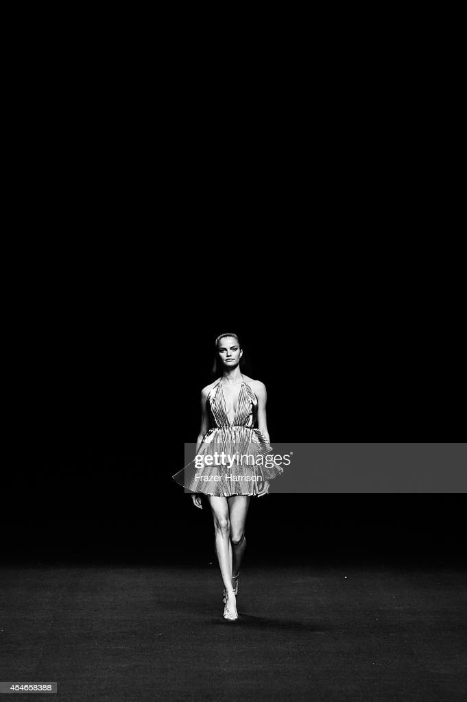 A model walks the runway at the Meskita fashion show during MercedesBenz Fashion Week Spring 2015 at The Salon at Lincoln Center on September 4 2014...