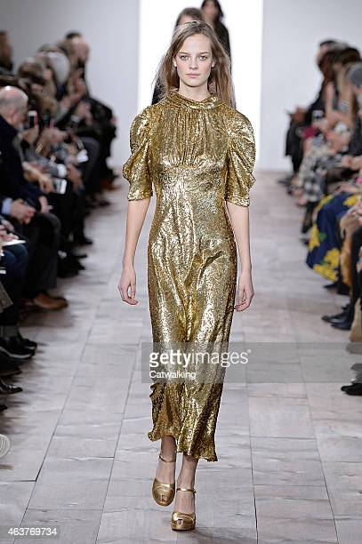 A model walks the runway at the Michael Kors Autumn Winter 2015 fashion show during New York Fashion Week on February 18 2015 in New York United...