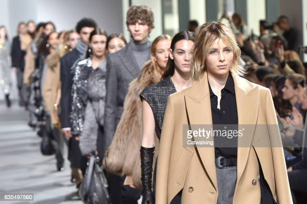 A model walks the runway at the Michael Kors Autumn Winter 2017 fashion show during New York Fashion Week on February 15 2017 in New York United...