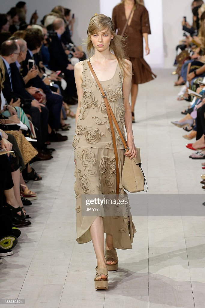 A model walks the runway at the Michael Kors Spring 2016 Runway Show during New York Fashion Week: The Shows at Spring Studios on September 16, 2015 in New York City.