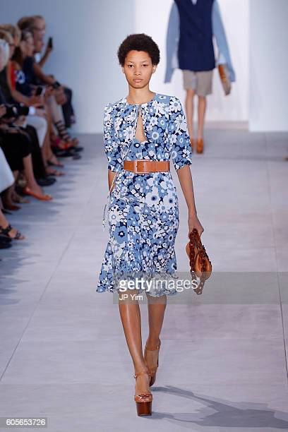 A model walks the runway at the Michael Kors Spring 2017 Runway Show duing NEw York Fasion Week at Spring Studios on September 14 2016 in New York...