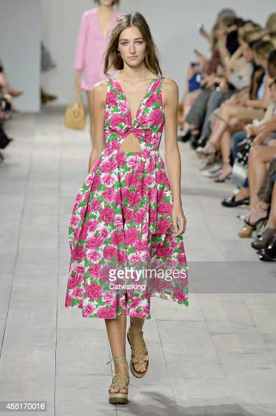 A model walks the runway at the Michael Kors Spring Summer 2015 fashion show during New York Fashion Week on September 10 2014 in New York United...