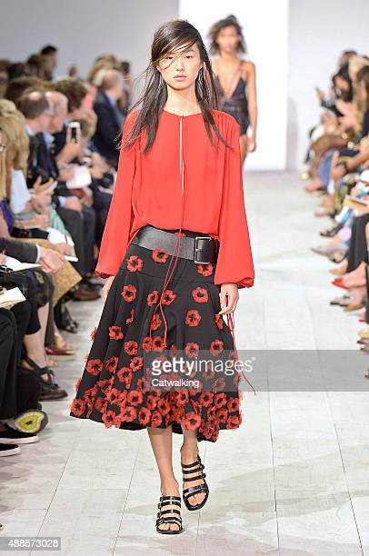 A model walks the runway at the Michael Kors Spring Summer 2016 fashion show during New York Fashion Week on September 16 2015 in New York United...