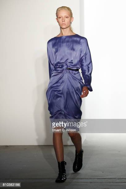 A model walks the runway at the Michael Sonntag show during the MercedesBenz Fashion Week Berlin Spring/Summer 2018 at Kaufhaus Jandorf on July 7...