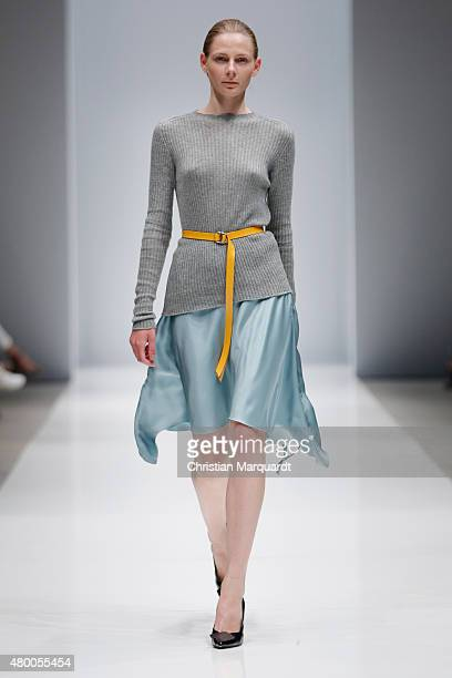 A model walks the runway at the Michael Sontag show during the MercedesBenz Fashion Week Berlin Spring/Summer 2016 on July 9 2015 in Berlin Germany