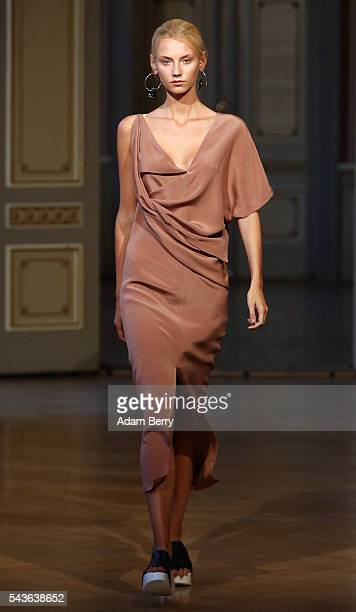 A model walks the runway at the Michael Sontag show during the MercedesBenz Fashion Week Berlin Spring/Summer 2017 at Palais am Festungsgraben on...