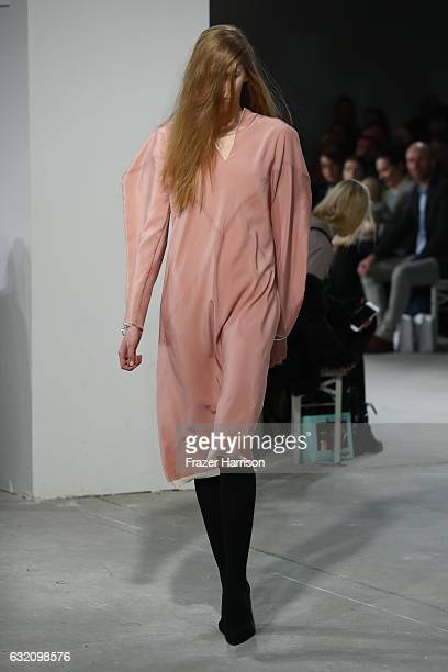 A model walks the runway at the Michael Sontag show during the MercedesBenz Fashion Week Berlin A/W 2017 at Kaufhaus Jandorf on January 19 2017 in...