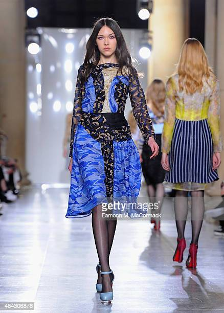 A model walks the runway at the Michael van der Ham show during London Fashion Week Fall/Winter 2015/16 at TopShop Show Space on February 24 2015 in...