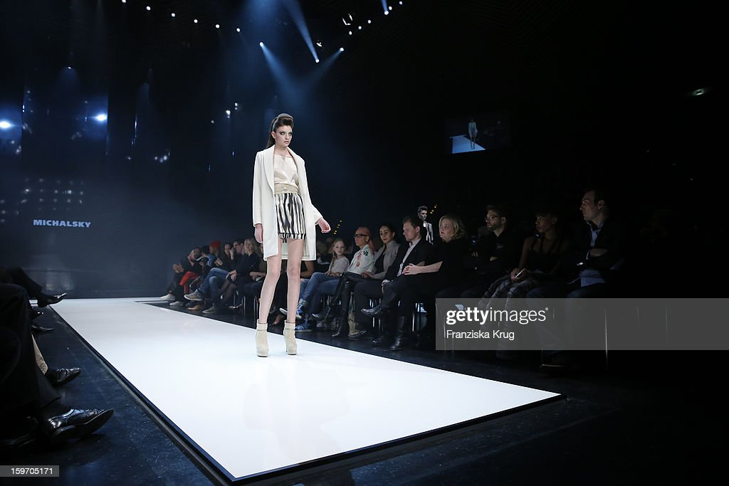 A model walks the runway at the 'Michalsky Style Nite Show - Mercesdes-Benz Fashion Week Autumn/Winter 2013/14' at Tempodrom on January 18, 2013 in Berlin, Germany.