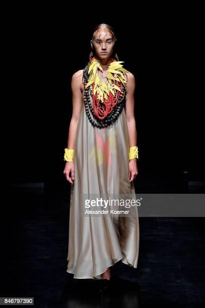 A model walks the runway at the MiiN by Kadir Kilic show during MercedesBenz Istanbul Fashion Week September 2017 at Zorlu Center on September 14...