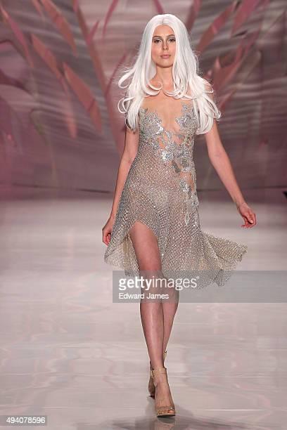 A model walks the runway at the Mikael D Spring/Summer 2016 fashion show during World Mastercard fashion week on October 23 2015 at David Pecaut...