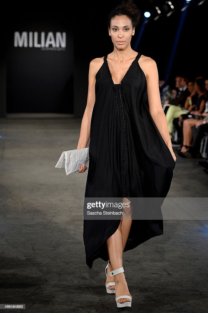A model walks the runway at the Milian by Annette Goertz show during Platform Fashion Dusseldorf on February 1, 2014 in Dusseldorf, Germany.