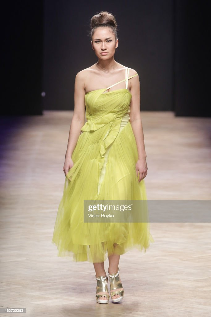 A model walks the runway at the Milla Berillo show during day 1 of Aurora Fashion Week Russia AW14 on April 9, 2014 in Saint Petersburg, Russia.
