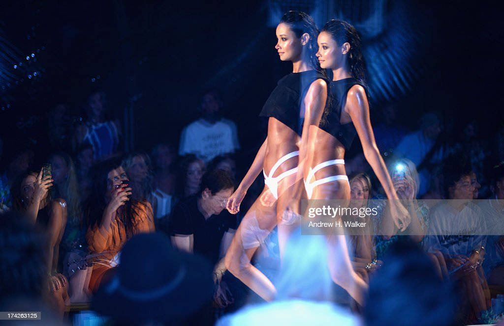 A model walks the runway at the Minimale Animale runway during Mercedes-Benz Fashion Week Swim 2014 at the Raleigh on July 22, 2013 in Miami Beach, Florida.